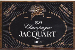 Etiquette Champagne JACQUART à Reims / BRUT / Millésimé 1985 / Magnum - Champagne
