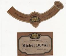 Etiquette Champagne Michel DUVAL à PUISIEULX / BRUT - Champagne
