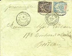 """Cachet De MAJUNGA Sur N° 32+33 Et Cachet De Ligne """"La Réunion A Marseille L.V.N°2-1897- - Storia Postale"""
