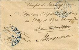 """1902- Petite Enveloppe """" Troupes De Madagascar"""" Cad Ferroviaire -20- MADAGASCAR  + CAMP  D'AMBRE  Pour Mascara ( Algérie - Storia Postale"""