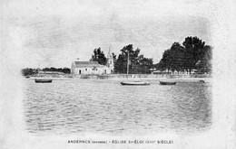 ANDERNOS EGLISE SAINT ELOI CARTE PUBLICITE LES HUITRES RONGIER - Andernos-les-Bains