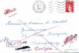 Retour à L'Envoyeur 858 Champagney Rebuts Rayé Flamme Besançon St Ferjeux 1981 2102 Sabine De Gandon > Donzère - 1961-....