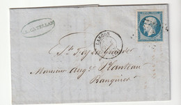 Lettre Avec Classiques De France: Napoléon N°14 , Facture Recouvrements  Langon/ Gironde, 1855 - 1853-1860 Napoleone III