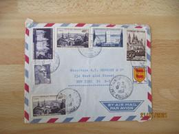 Affranchissement Philatelique  Timbre Narvik Pic Du Midi Chateau Chambord  7 Timbre Pour New York - 1921-1960: Modern Tijdperk