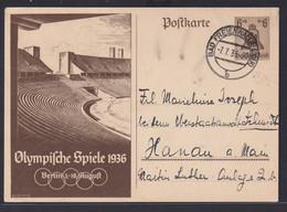 Deutsches Reich Ganzsache P 260 Olympia Bad Freienwalde Nach Hanau 7.7.1936 - Interi Postali