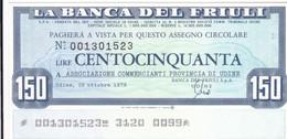 MINIASSEGNO LA BANCA DEL FRIULI ASSOCIAZIONE COMMERCIANTI PROVINCIA DI UDINE - [10] Cheques Y Mini-cheques