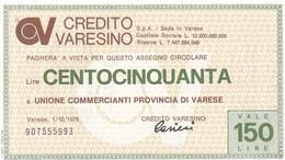 MINIASSEGNO CREDITO VARESINO UNIONE COMMERCIANTI PROVINCIA DI VARESE - [10] Cheques Y Mini-cheques