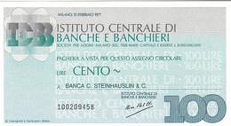 MINIASSEGNO ISTITUTO CENTRALE DI BANCHE E BANCHIERI BANCA C. STEINHAUSLIN & C - [10] Cheques Y Mini-cheques