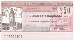 MINIASSEGNO LA BANCA POPOARE DI BERGAMO ASSOCIAZIONE ARTIGIANI DI BERGAMO - [10] Cheques Y Mini-cheques