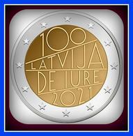 Lettland Latvia Kms 2021 COIN 2 Euro 100 Latvia De Jure Auflage Unz Aus Roll - Letland