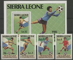 Soccer Football Sierra Leone #873/6 + Bl 42 1986 World Cup Mexico MNH ** - 1986 – Mexico