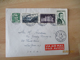 Affranchissement Philatelique Timbre 12 F Laennec 15 F Garabit 20 F Chambord Nice R P Depart T Lettre Pour New York - 1921-1960: Modern Tijdperk
