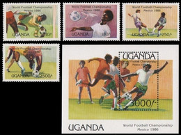 Soccer Football Uganda #460/3 + Bl 56 1986 World Cup Mexico MNH ** - 1986 – Mexico
