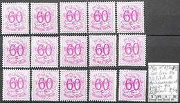 NB - [851564]TB//**/Mnh-Belgique 1966 - N° 1370P3, 60c Lion, PH Tb Lot De 15 Dont Nuances Et Papier PH Différents, Félin - Neufs