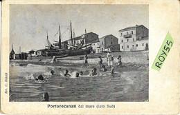 Marche-macerata-portorecanati Dal Mare Veduta Lato Sud Porto Recanati Primi 900 Animatissima (v.retro) - Other Cities
