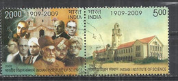 INDIA 2008 - CENTENARY OF INDIAN INSTITUTE OF SCIENCE - CPL. SET - SE -TENANT - POSTALLY USED OBLITERE GESTEMPELT USADO - Used Stamps