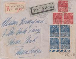 FRANCE : PA . REC . AFFRANCHISSEMENT A 7,50 F . FEMME FACHI . POUR LE CAMBODGE . VIGNETTE AU DOS . 1931 . - Brieven En Documenten