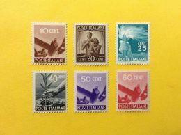 1945 1946 ITALIA FRANCOBOLLI NUOVI ITALY STAMPS NEW MNH** DEMOCRATICA 6 VALORI - 1946-60: Nieuw/plakker