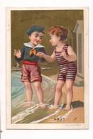 CHROMO DORE A LA BELLE JARDINIERE : MOIS D'AOUT - ENFANTS SUR LA PLAGE - (APPEL) - - Altri