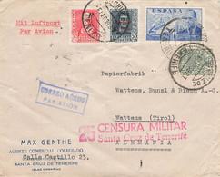 Espagne : Lettre Par Avion De 1939 Pour Alemania Wattens Via Innsbruck - Censura Militar Santa Cruz De Tenerife Canarias - 1931-50 Briefe U. Dokumente
