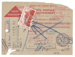 Contre Remboursement 1951 Oblitération Mécanique KOSMEO Pour Rennes Taxé 40 F Avec  2 841A, Voir Les Cachets, En L'état - Postage Due Covers