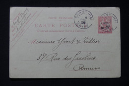 CHINE - Entier Postal Type Mouchon Surchargé De Shanghai Pour Yvert Et Tellier à Amiens En 1909 - L 85742 - Briefe U. Dokumente