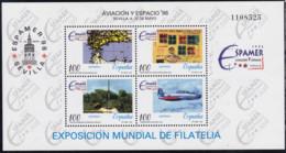 Spanien, 1996, 3277/80 Block 65, MNH **,  ESPAMERLuft- Und Raumfahrtausstellung '96, Sevilla - 1991-00 Unused Stamps