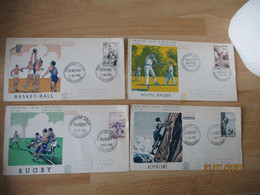 Fdc Yt  1072.1073.10741075  Serie Sportive Basket Rugby Alpinisme Pelote Basque  Enveloppe 1 Er Jour - 1950-1959