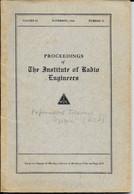 LIVRE -  PROCEEDINGS OF THE INSTITUDE OF RADIO ENGINEERS - Volume 22 - November 1934 - Number 11 - Published New York - Engineering
