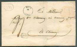 LAC De SURICE Via Boîte AW Et Cachet HEER 14-VI (type 18) 1842 + Griffe SR Vers Chimay. Port De '4' Décimes - 17146 - 1830-1849 (Belgio Indipendente)