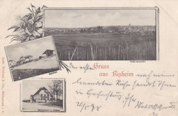 RIXHEIM - MULHOUSE - HAUT-RHIN - (68) - CPA MULTIVUES DE 1898 - TAMPON AMBULANT STRASBOURG - BASEL. - Mulhouse