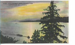 VANCOUVER SUNSET FROM PROSPECT POINT STANLEY PARK ANNEES 1920 ET PLUS - Vancouver
