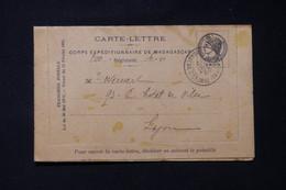 MADAGASCAR - Carte Lettre En Fm Du Corps Expéditionnaire De Madagascar Pour Lyon En 1895 ( Tachée)  - L 85762 - Storia Postale