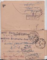 Carte-Lettre Section Rhènane Poste Aux Armées Service Central  Parti Sans Laisser D'Adresse Retour à L'Envoyeur 1924 - Sellos Militares Desde 1900 (fuera De La Guerra)