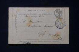MADAGASCAR - Carte Lettre En Fm Du Corps Expéditionnaire De Madagascar Pour Gap En 1895 ( Tachée)  - L 85763 - Storia Postale