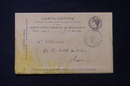 MADAGASCAR - Carte Lettre En Fm Du Corps Expéditionnaire De Madagascar Pour Lyon En 1895 ( Tachée)  - L 85764 - Storia Postale