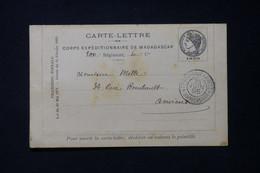 MADAGASCAR - Carte Lettre En Fm Du Corps Expéditionnaire De Madagascar Pour Amiens En 1895 ( Tachée)  - L 85765 - Storia Postale