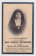 SOEUR JOSEPH EUPRASIE / MARIE BILLIET  MONT ST AMAND   LA VISITATION A BAASRODE  192è  21 ANS - Avvisi Di Necrologio