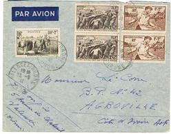 TIMBRES SECOURS NATIONAL SUR ENVELOPPE PAR AVION POUR LA COTE-D'IVOIRE - 1921-1960: Periodo Moderno