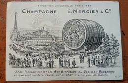 PUBLICITE CHAMPAGNE MERCIER EXPOSITION UNIVERSELLE PARIS 1889 GROS TONNEAU 800 BARRIQUES 200.000 BOUTEILLES CHAR - Werbung