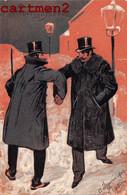 SERIE DE 3 CPA GAUFREE HEUREUSE ANNEE HUMOUR CHUTE DANS LA NEIGE EMBOSSED ILLUSTRATEUR - Ante 1900