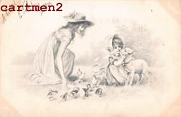 SERIE DE 4 CPA VIENNOISE COUPLE FEMME MOUTON AGNEAU M/M. VIENNE ILLUSTRATEUR WICHERA 1900 - Ante 1900