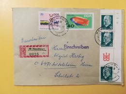 1969 BUSTA RACCOMANDATA GERMANIA DEUTSCHE DDR BOLLO TRAFFIC FISH OBLITERE'  NAUMBURG - Covers & Documents