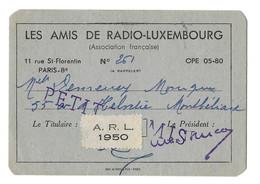 1950 PARIS - LES AMIS DE RADIO LUXEMBOURG - DEMEUSY MONIQUE A MONTBELIARD - CARTE DE MEMBRE - Altri