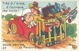 Cpsm Villes, Système Dépliant – Le Plateau D'Assy, Automobile, Ivrogne, Perroquet - Otros Municipios