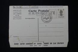 """FRANCE - Carte Lettre FM + Vignette Infanterie En 1940, Oblitération """" Art Fêtes Vignette De L'Armées """" - L 85773 - Franchise Stamps"""