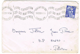 KRAG ROCHEFORT SUR MER FOIRE-EXPO 54 SUR LETTRE - Mechanical Postmarks (Advertisement)