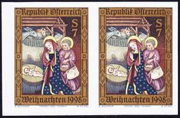 1998 Weihnachtsmarke, Ungezähntes Waagerechtes Paar. ANK Nr. 2302U. 2x 1500 Euro - Errores & Curiosidades