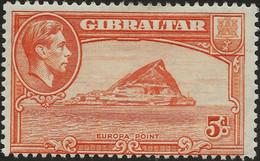 Gibraltar 1938 - 1949 SG125c 5d Rock Perf 13 Watermark Sideways MINT MH - Gibraltar