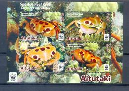 AITUTAKI  BLOCK  WWF CRABS MNH - Marine Life
